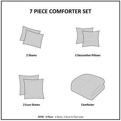 Eider & Ivory Aiden Reversible Comforter Set Size: Full/Queen Comforter + 4 Shams + 2 Pillows, Color: Gray