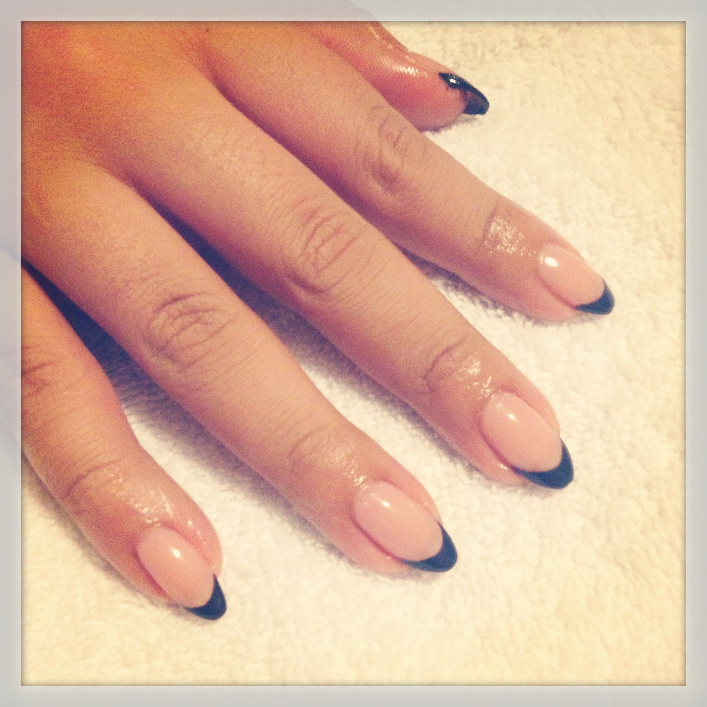 Black French manicure   Nails   Pinterest   Black french manicure ...
