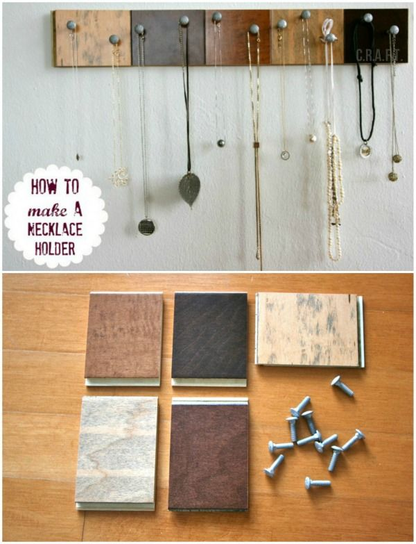 DIY Jewelry organizer Hardware Organize necklaces and Simple diy