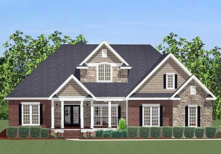 Plan 46230la 4 bed house plan with upstairs office house plans bonus rooms and offices - House plans with bonus rooms upstairs ...
