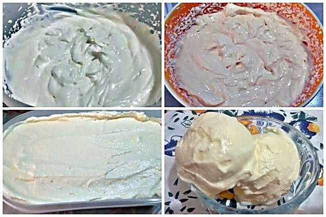Preparación del helado de queso sin azúcar