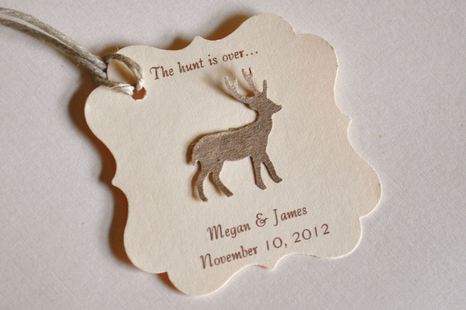 The Hunt is Over Favor Tags Wedding Favors Deer Favor Tags 50 ...
