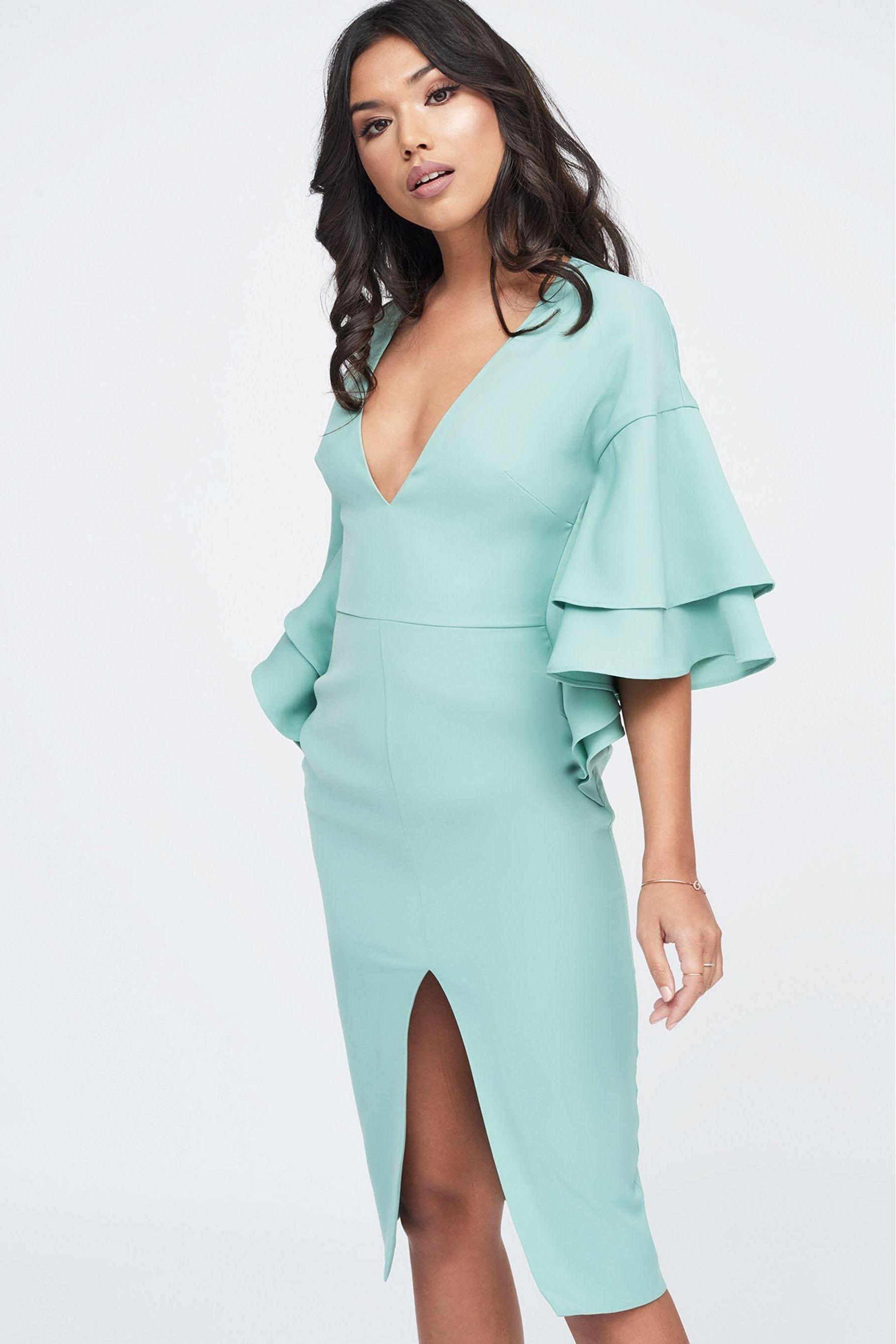 Womens Lavish Alice Double Frill Sleeve Woven Midi Dress Green