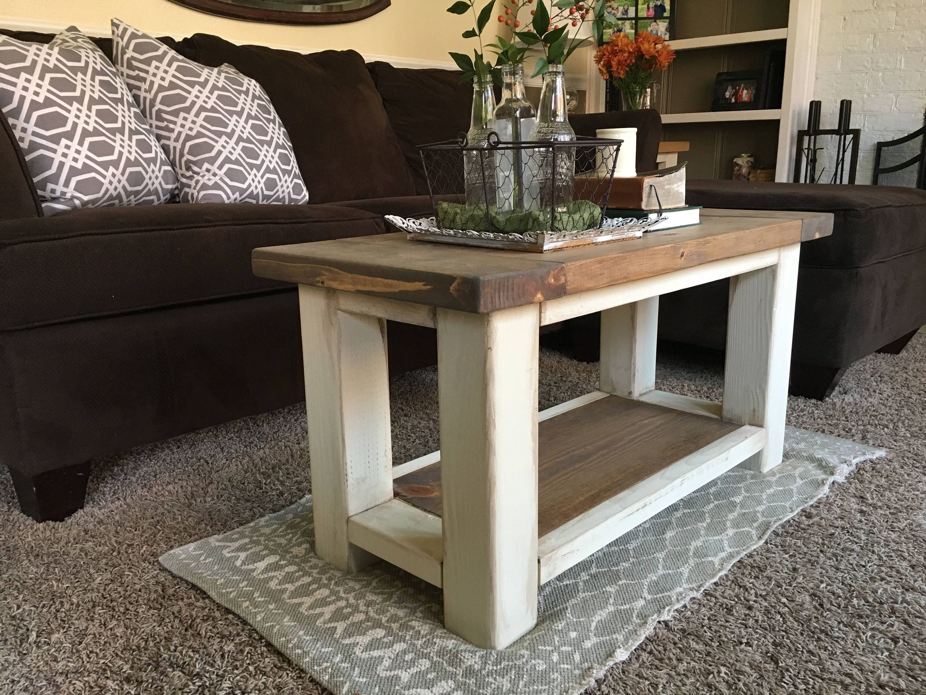 Farmhouse Style Coffee Table No. 2 Solid Wood Rustic