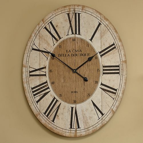 40gbp Large Oval Wooden Wall Clock