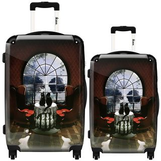 iKase Rose Skull 2-piece Hardside Spinner Luggage Set | Overstock.com Shopping - The Best Deals on Two-piece Sets