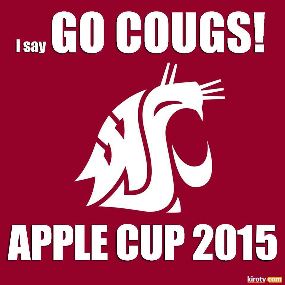 I Say Go Cougs Apple Cup 2015 Washington State Cougars Car Flags Wsu Cougars [ 960 x 960 Pixel ]