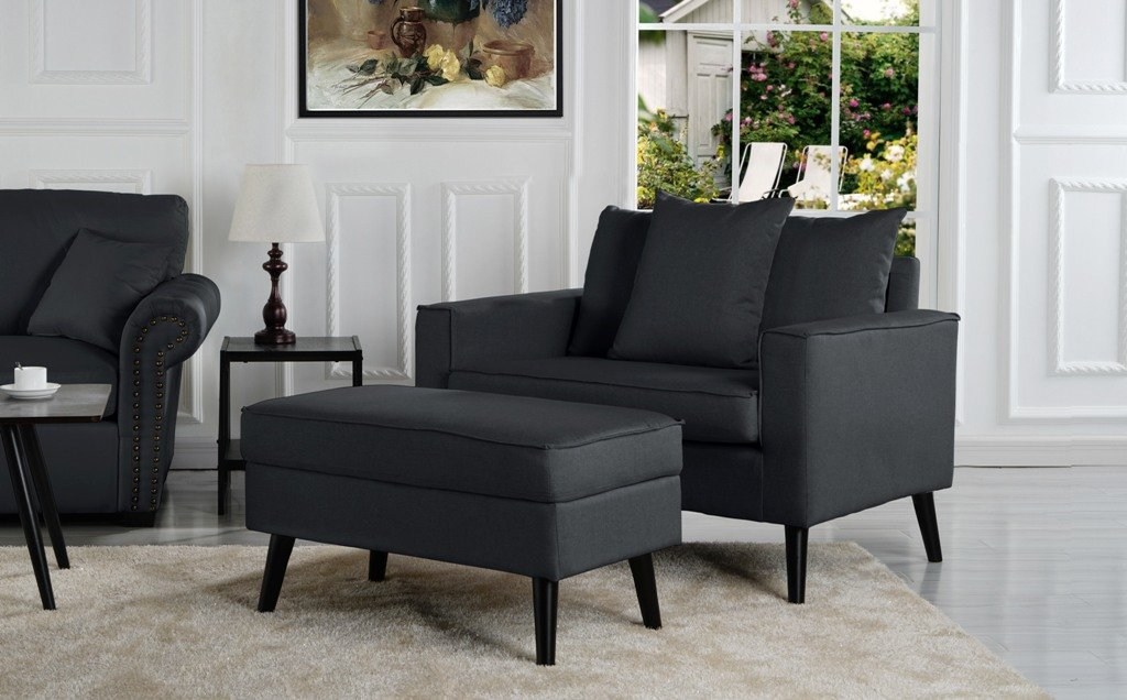 Roberson Modern Accent Chair With Storage Footrest Ottoman In