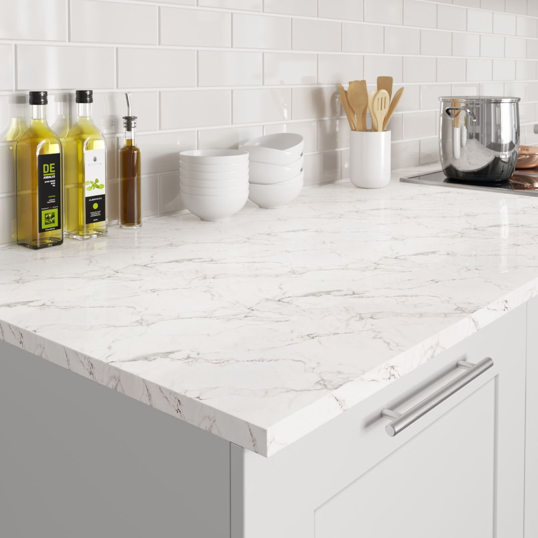 Our New Calacatta Marble Effect Worktop Has A Pure And Clean