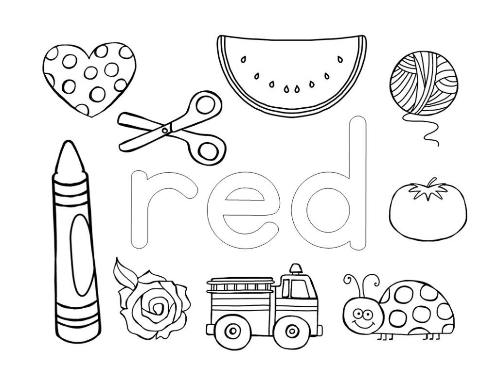 Color Coloring Pages Red The