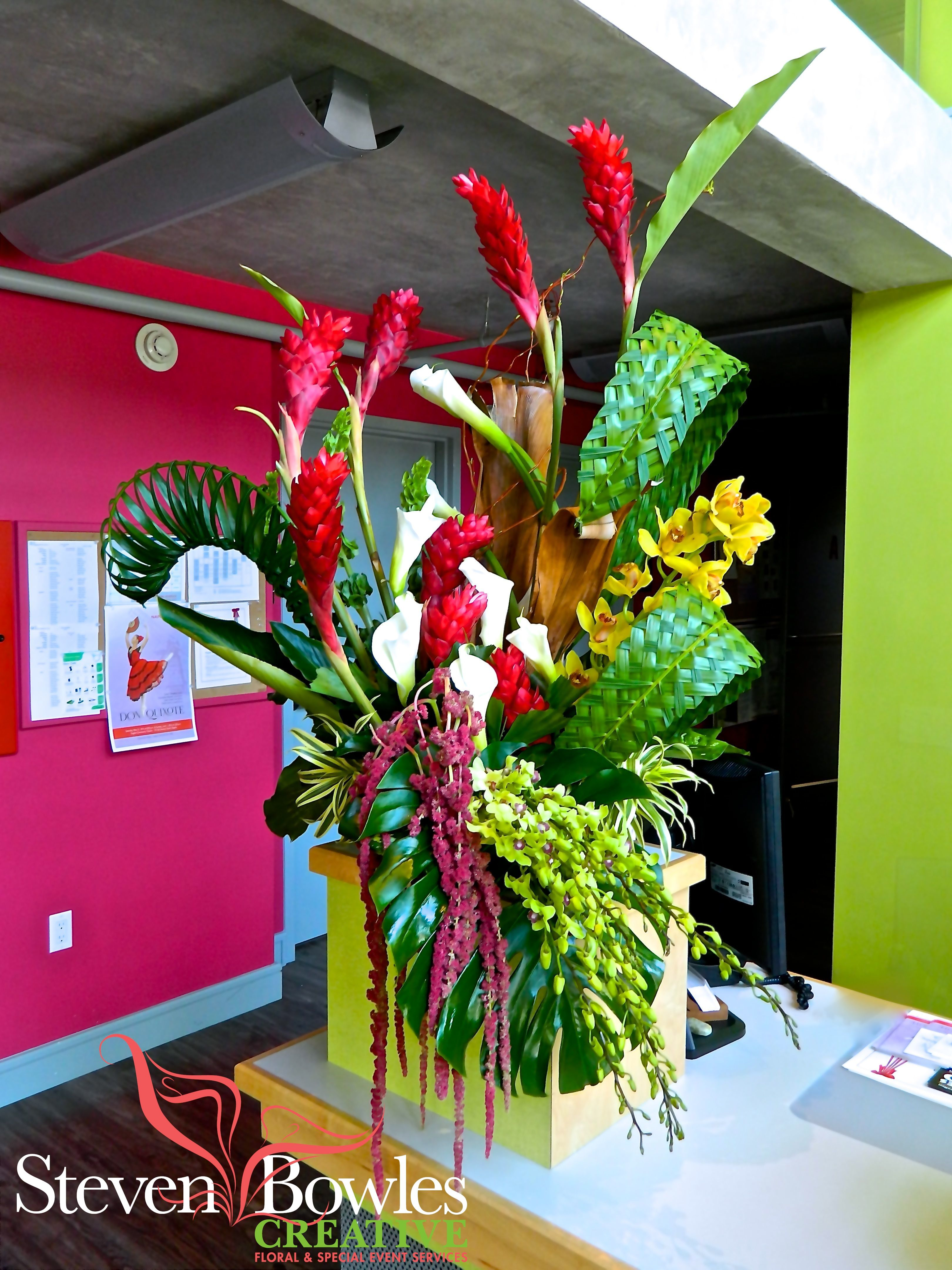 Tropical flower arrangement for naples academy of ballet