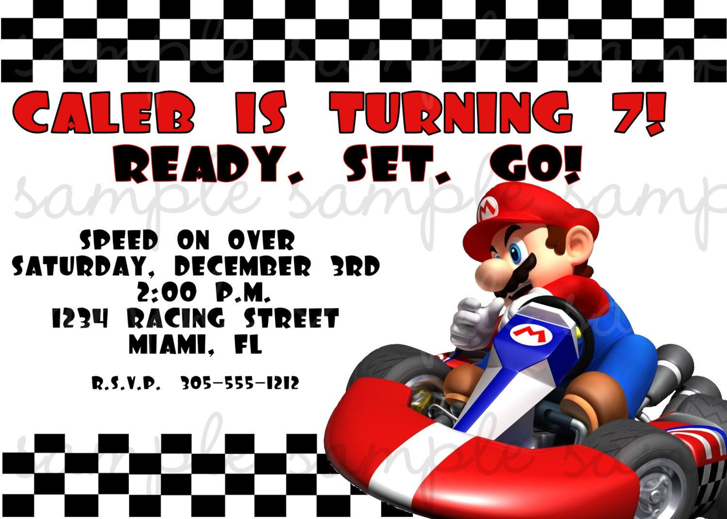 mario kart wii invite on etsy | partay! | Pinterest
