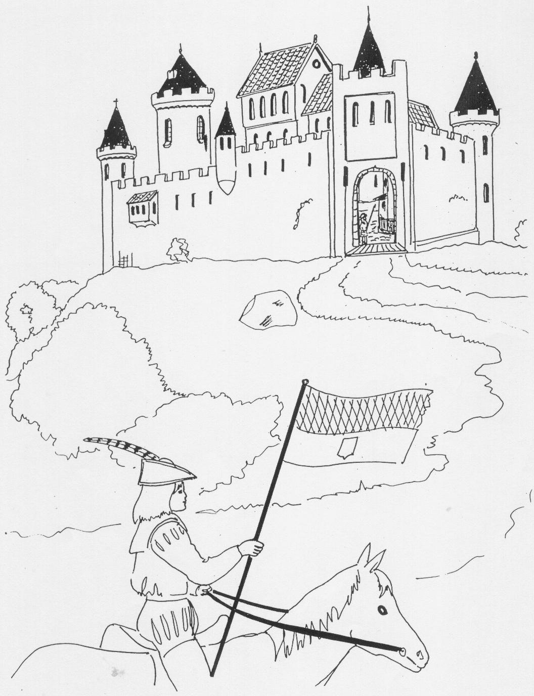 Ridder Te Paard Bij Kasteel Kleurplaat 001 Jpg 1056 1376 Ridders Kastelen Kleurplaten