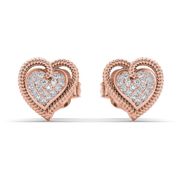De Couer 10k Rose Gold 1/10ct TDW Diamond Heart Earrings ($179) ❤ liked on Polyvore featuring jewelry, earrings, pink, heart shaped diamond earrings, rose stud earrings, pink stud earrings, rose gold jewelry and heart earrings
