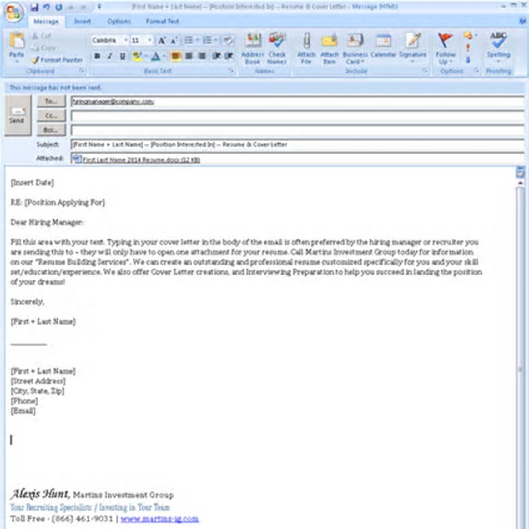 Simple Email Cover Letter Template | 1-Cover Letter Template ...