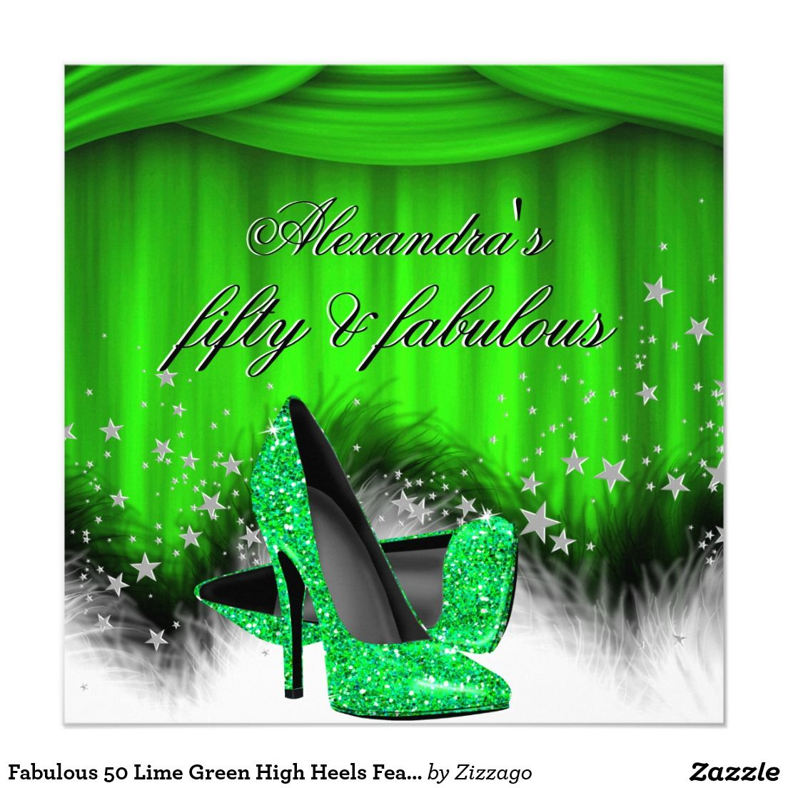 Fabulous 50 Lime Green High Heels Feather Birthday 525x525 Square