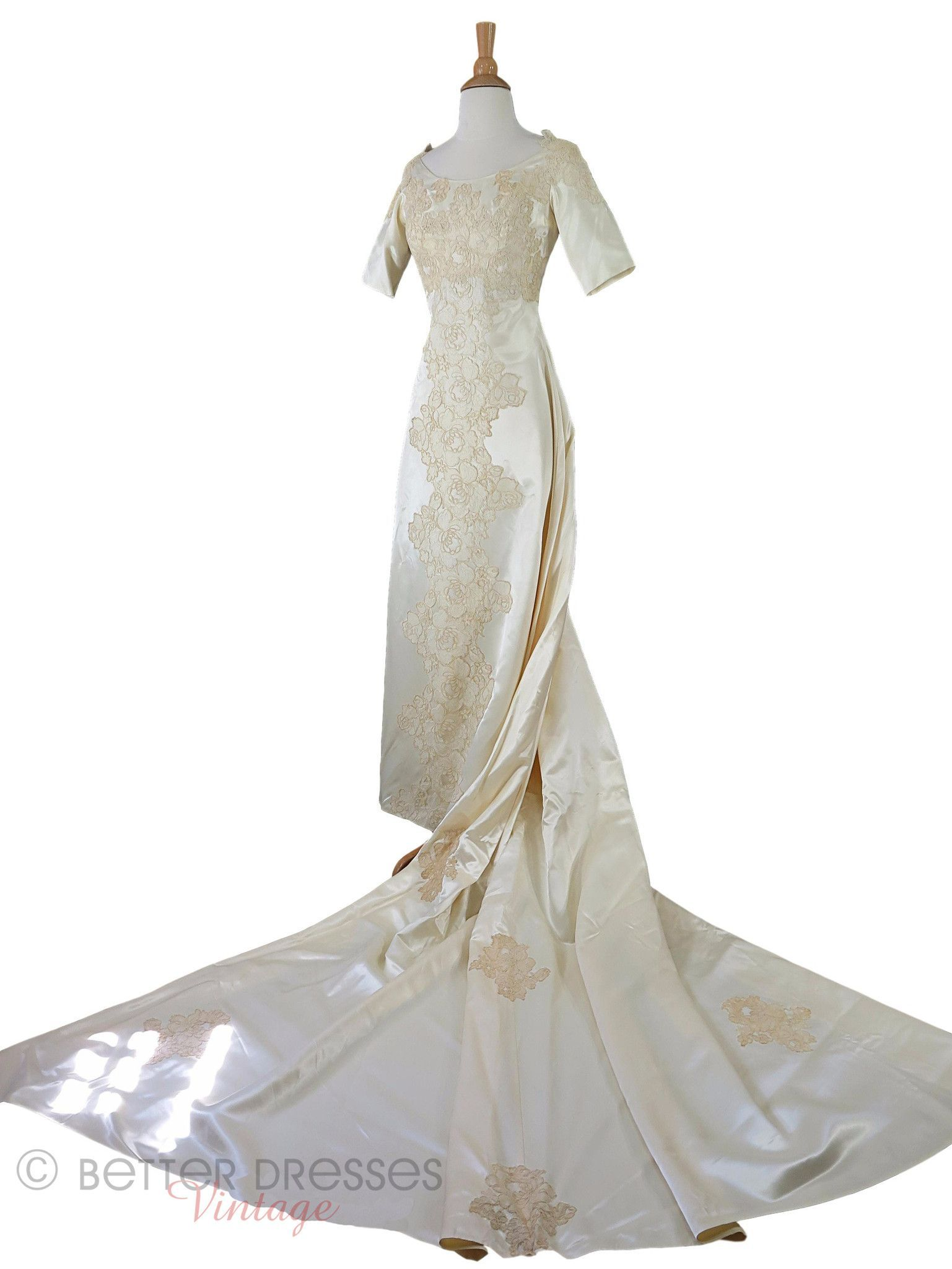 60s wedding dress  s Satin and Lace Wedding Gown  xs sm  Wedding gowns Products