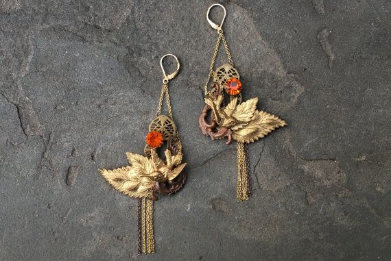 Persimmon Bird Earrings  Antique Brass Earrings  by OzBrooklyn