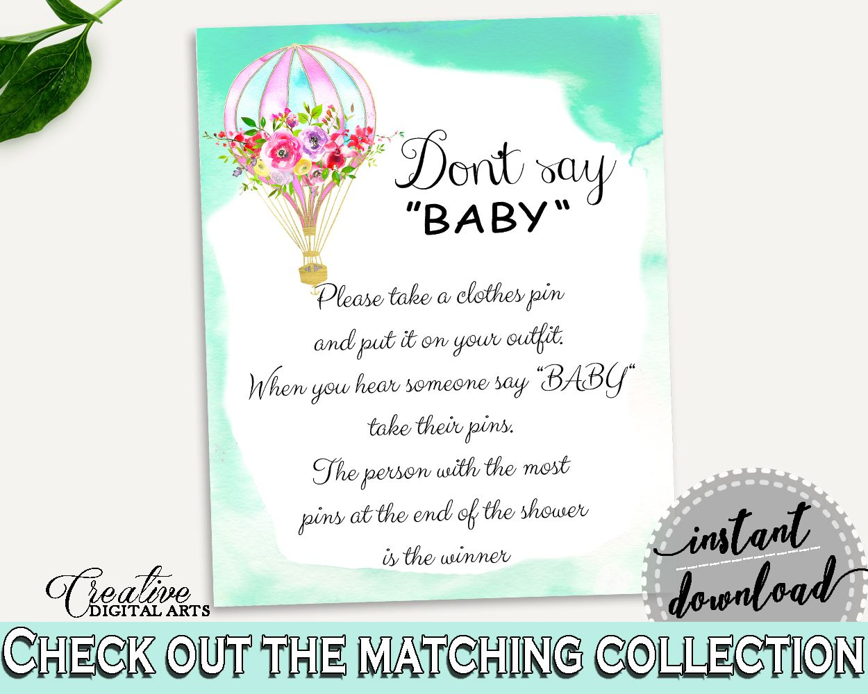 Dont Say Baby Baby Shower Dont Say Baby Hot Air Balloon Baby Shower Dont Say Baby Baby Shower Hot Air Balloon Dont Say Baby Green Pink CSXIS #babyshowergames #babyshower