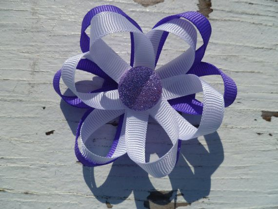 Handmade Purple and White Double Layer Ribbon by fitforprincess, $5.00