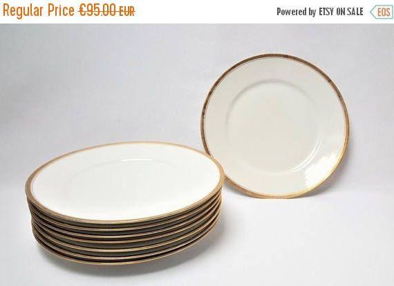 Porcelain & 8 porcelain dinner plates of LIMOGES white in liselé golden Greek ...