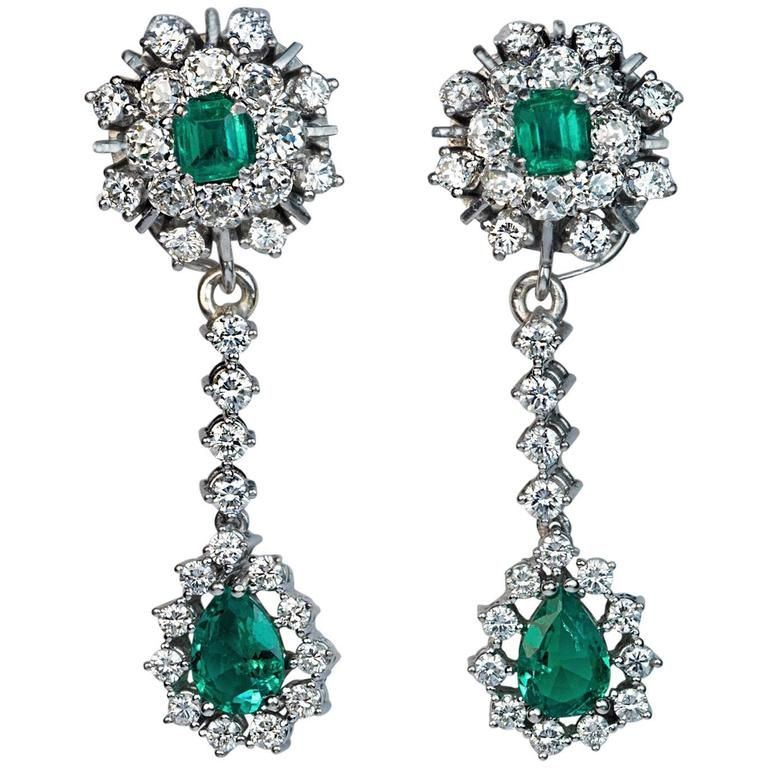 Emerald Diamond Day to Night Drop Earrings, 1950s | From a unique collection of vintage dangle-earrings at https://www.1stdibs.com/jewelry/earrings/dangle-earrings/