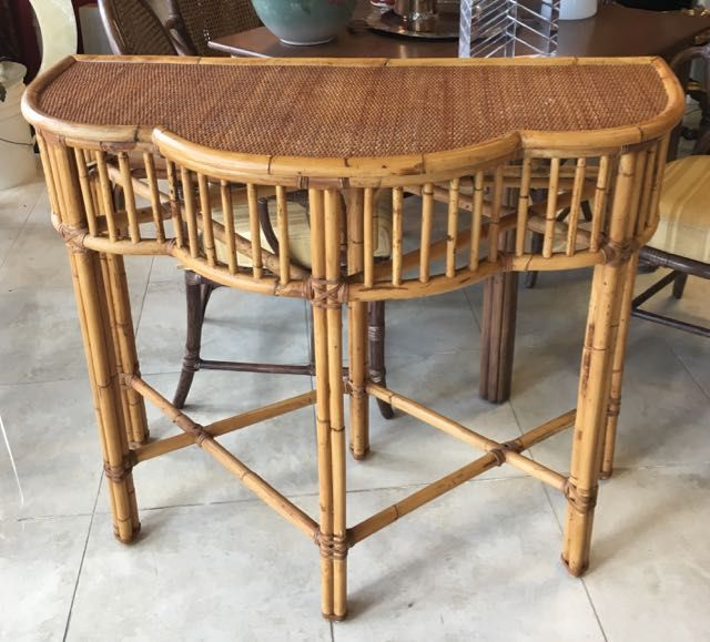 High Style Tropical Baker Milling Road Rattan Console Table In The Of Mcguire This Is A Beautiful With Trilobed Curved Top Lattice Gallery And