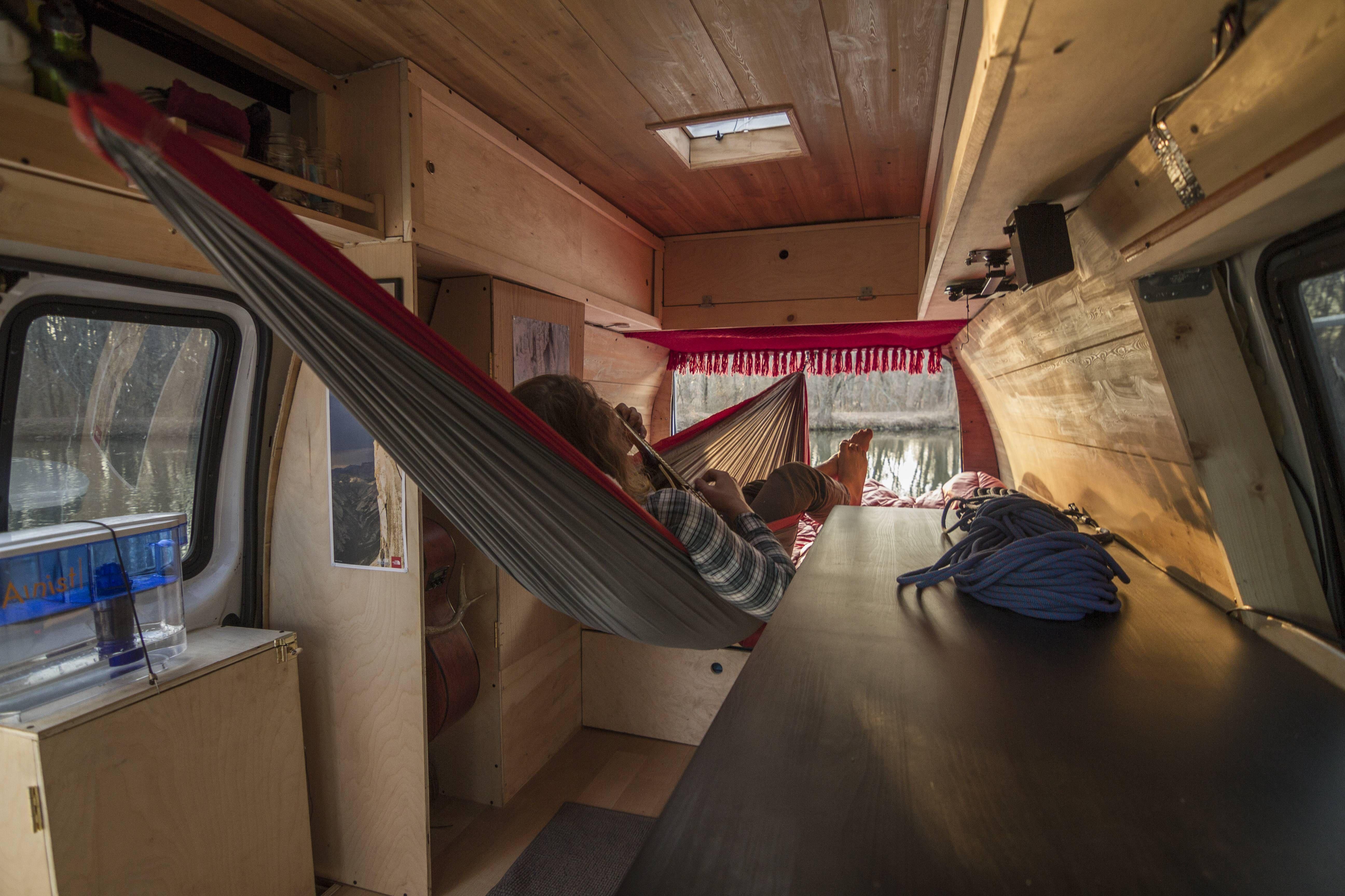 Just put a hammock in. Guest Bed Mercedes camper, Van