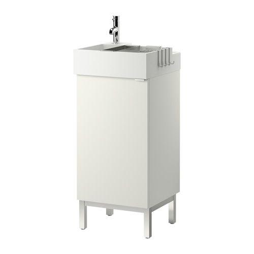 IKEA - LILLÅNGEN, Skab til vask med 1 dør, hvid, , Kantens form gør, at den kan bruges som en hylde til en sæbeskål og et tandkrus.