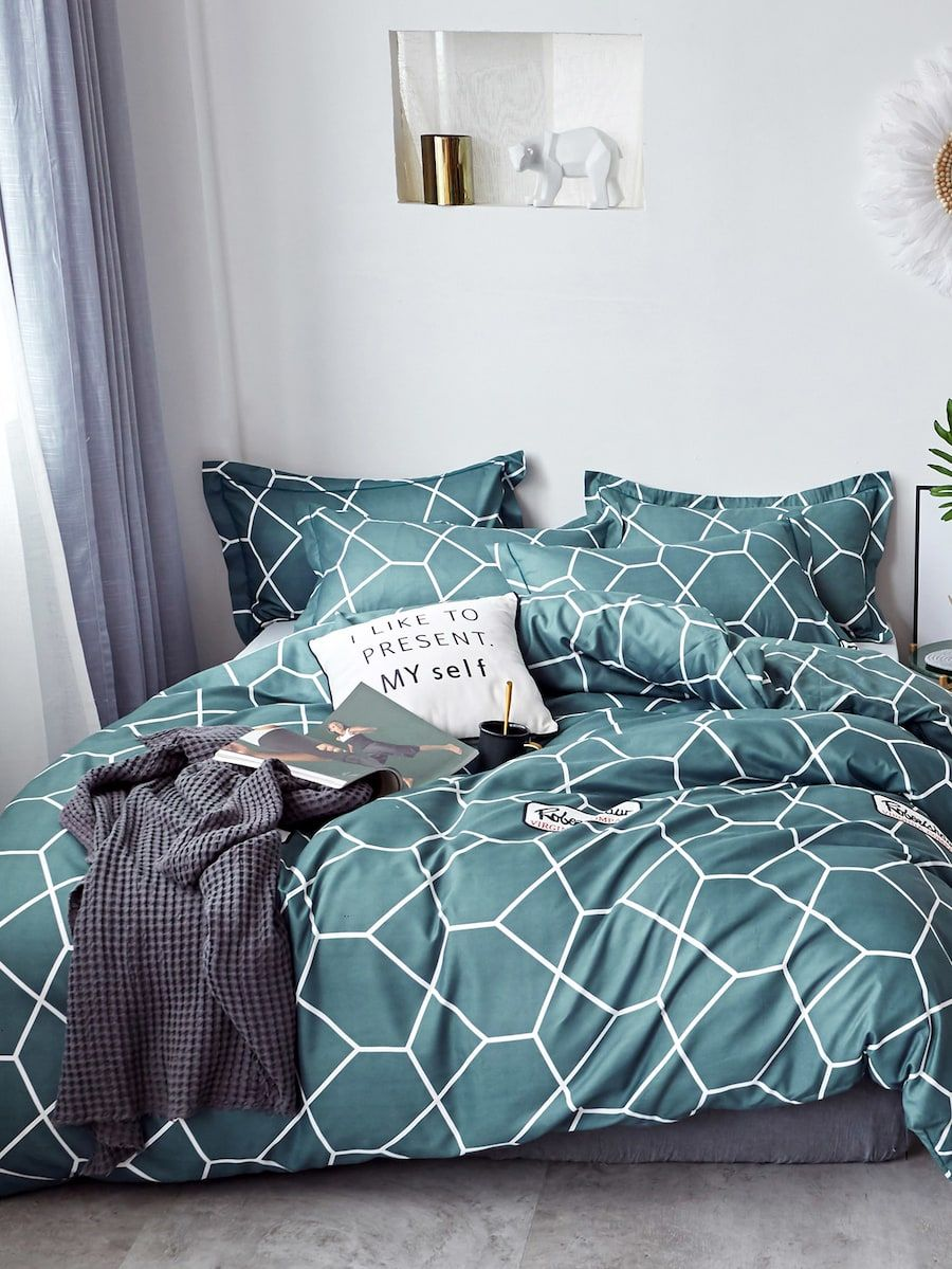 Geometric Print Sheet Set SHEIN(SHEINSIDE) Bedding sets