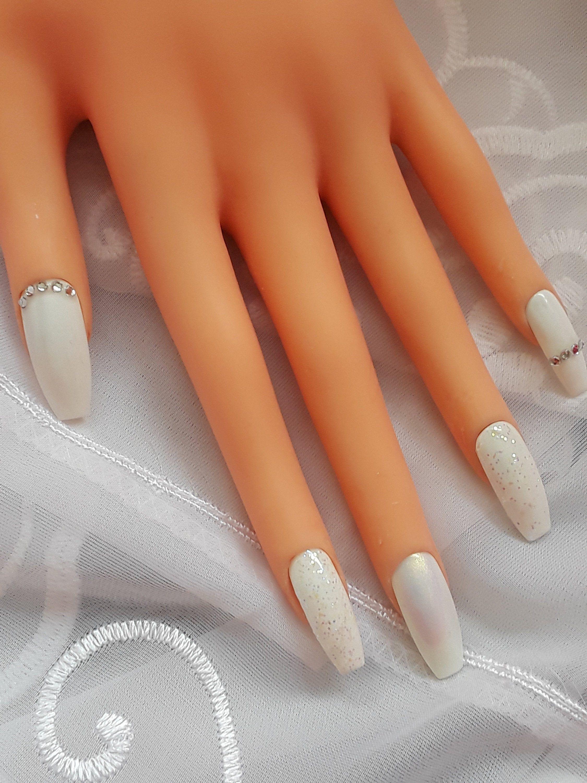 Snowflakes reusable press on nails coffin/square/oval/stiletto