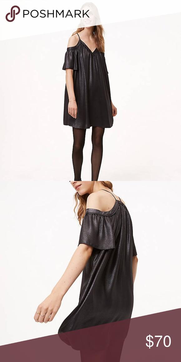 c9da8dc8861 LOFT Shimmer Cold Shoulder Dress Size Small Petite