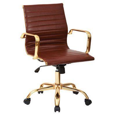 office chair upholstery. Mercer41 Emmy Desk Chair Upholstery: Saddle Faux Leather Office Upholstery E