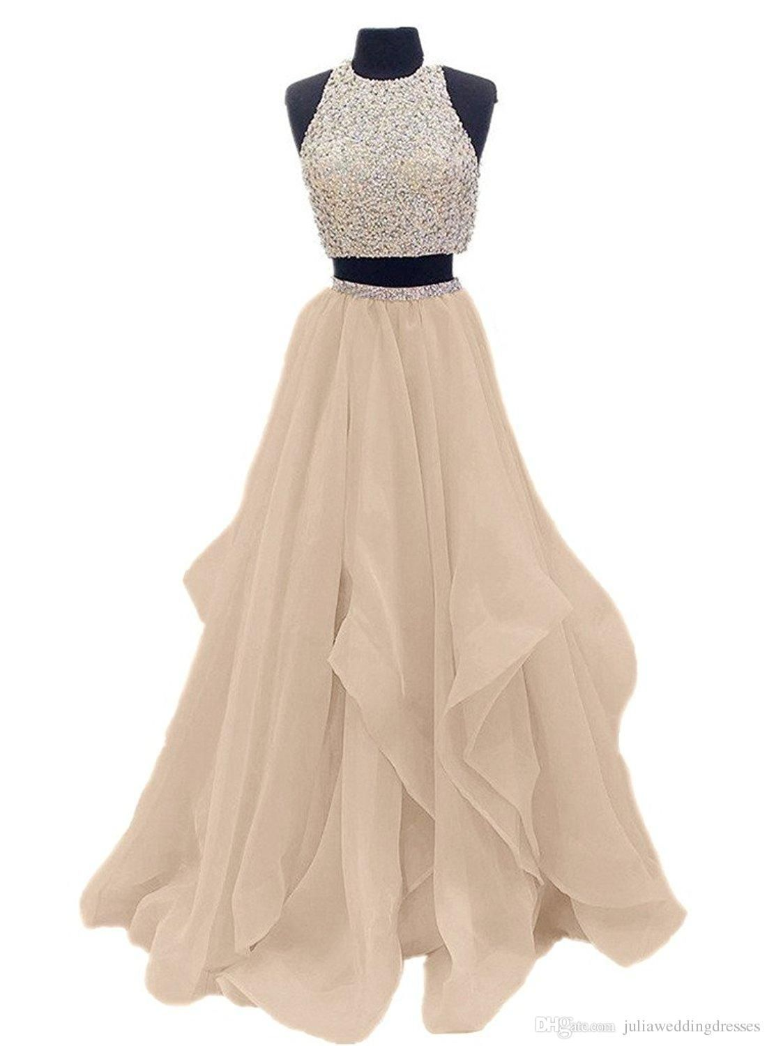 new two piece floor length organza prom dress beaded evening
