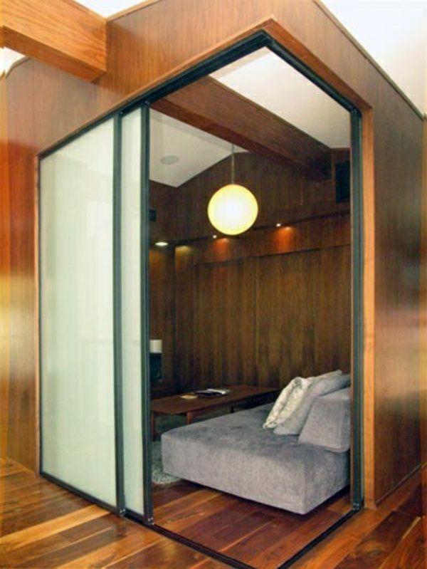Doppelbett Holz Rahmen Wand Schiebetüren Als Raumteiler Ecke Schlafzimmer
