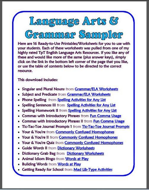 16 Free Language Arts Printables Grammar Pos