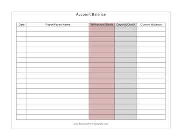 Checking Account Balance Sheet Template from i.pinimg.com
