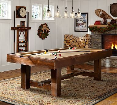 Pb pool table rustic mahogany finish with wine felt for Pottery barn poker table