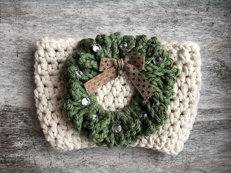 Photo of Christmas Wreath Crochet Coffee Cup Cozy / Crochet Wreath Coffee Tumbler Sleeve / Christmas Crochet Koozie