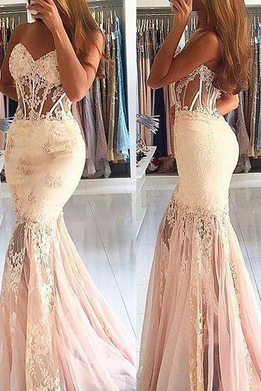 ab8daa21164e8 Sexy Sheer Mermaid Sleeveless Sweetheart Tulle Lace Long Prom Dresses by  PrettyLady, $143.01 USD