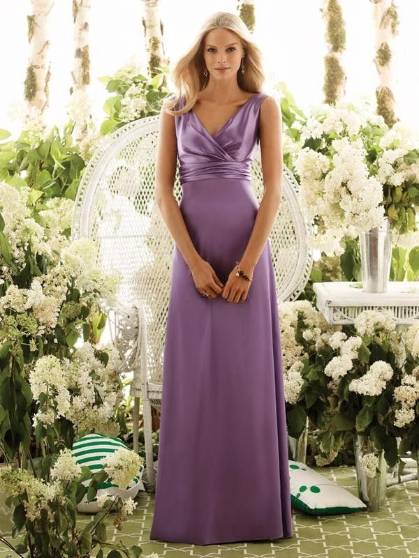 Casual Floor Length Lilac Bridesmaid Dresses