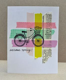 handmade card ... woven pattern of washi tapes ... bicycle with basket of flowers stamped on top ... cute!!