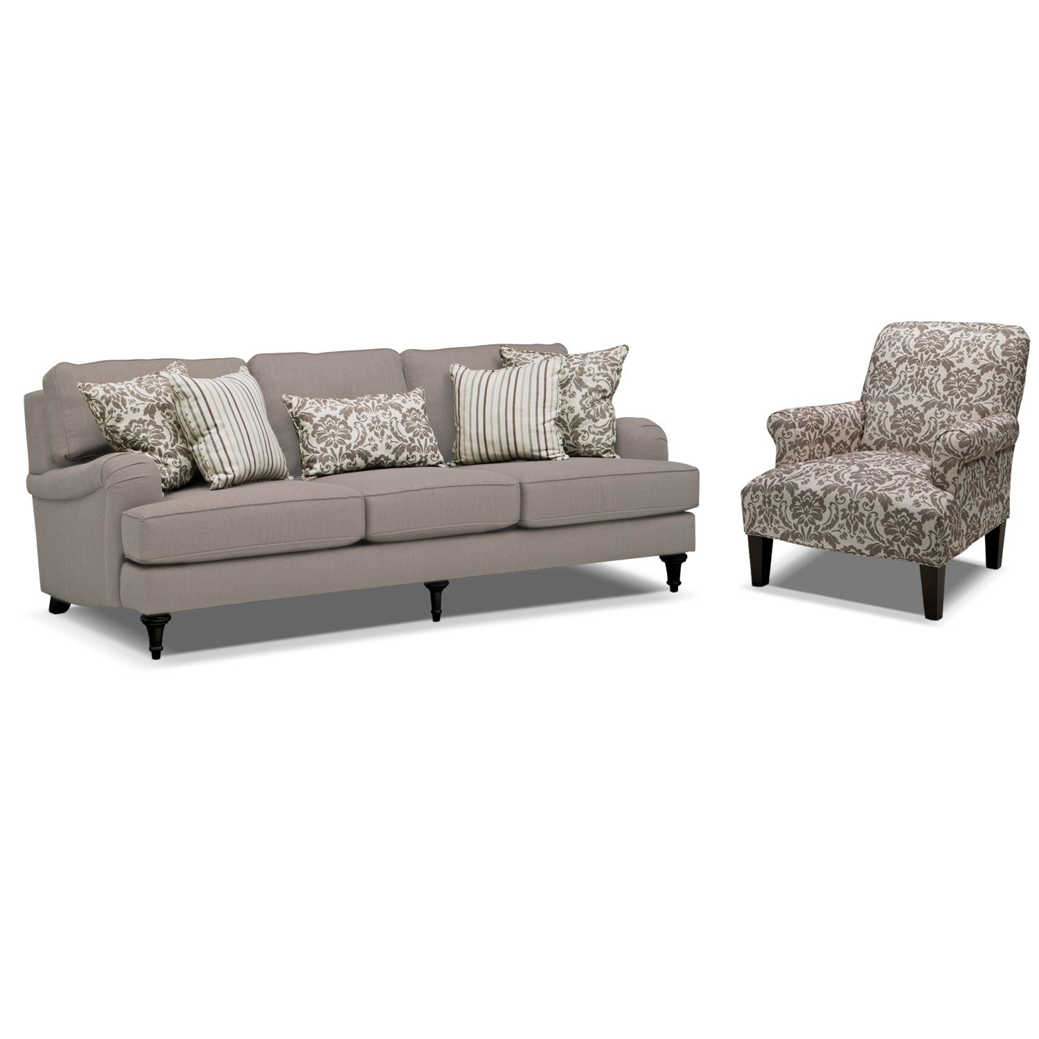 Candice Sofa and Accent Chair Set - Gray | Living room furniture ...