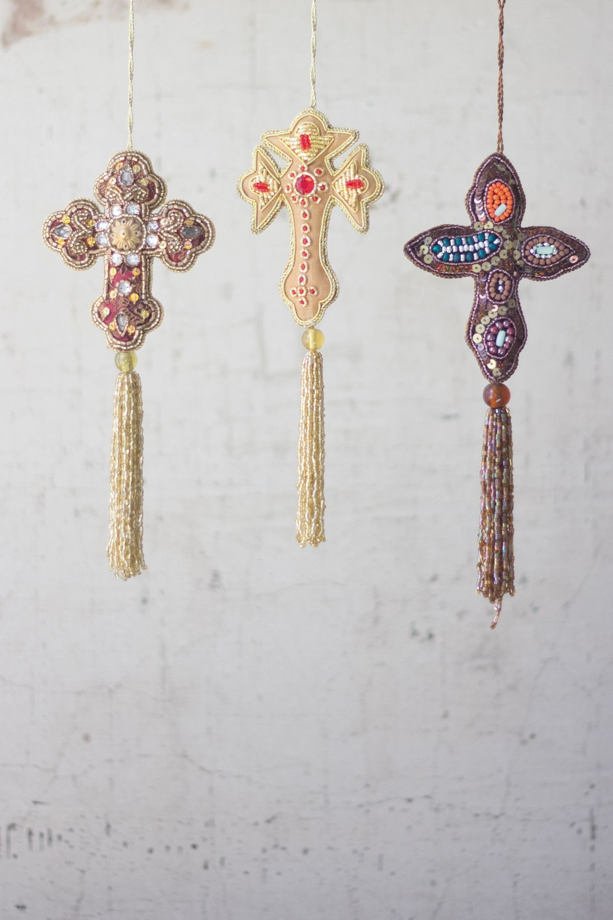 Kalalou beaded ornaments cross set of products pinterest