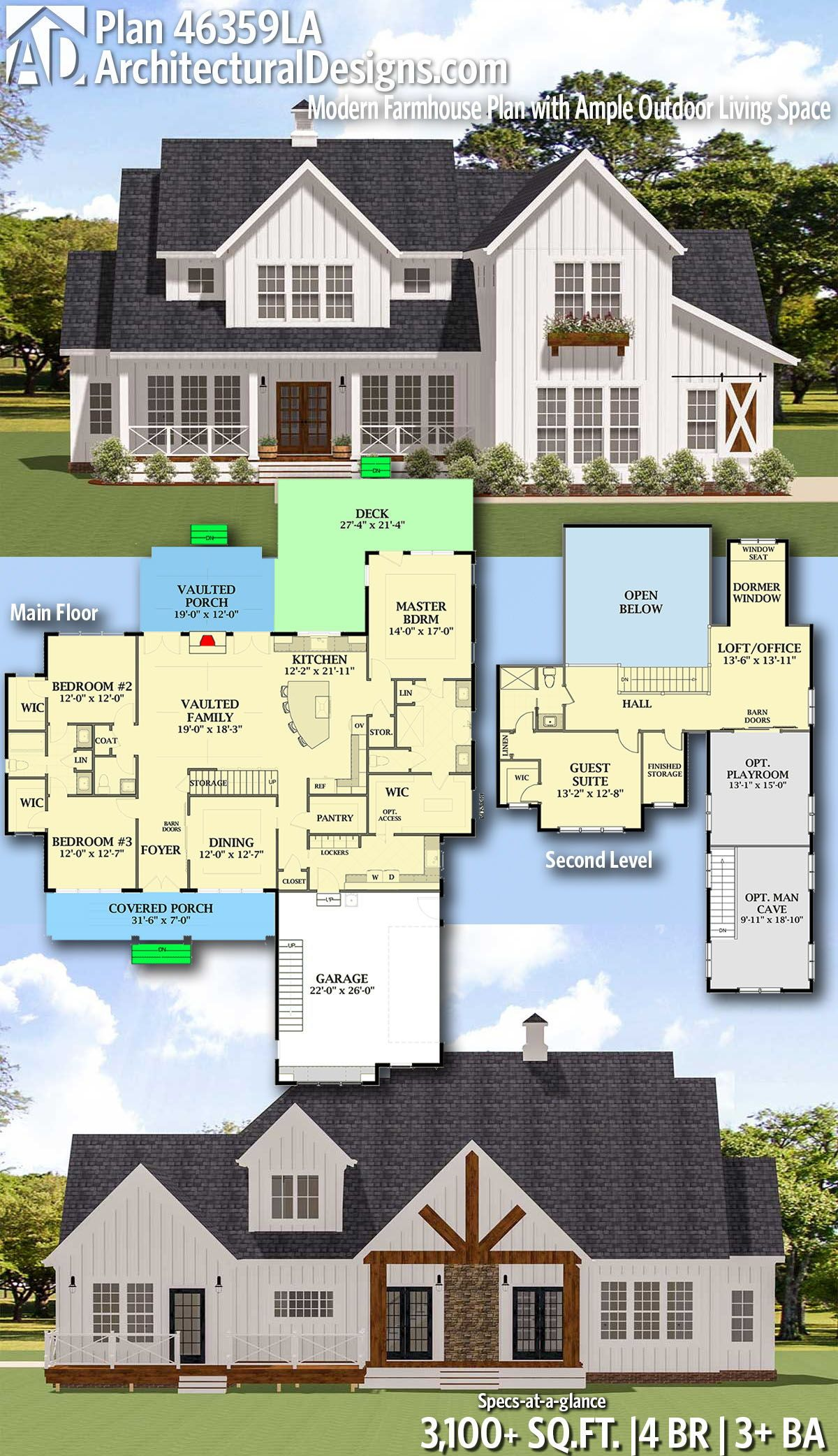 Plan 46359la Modern Farmhouse Plan With Ample Outdoor Living Space Farmhouse Plans Modern Farmhouse Plans House Plans Farmhouse