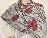 Silk Scarf In Light Grey with Wine Red Floral design
