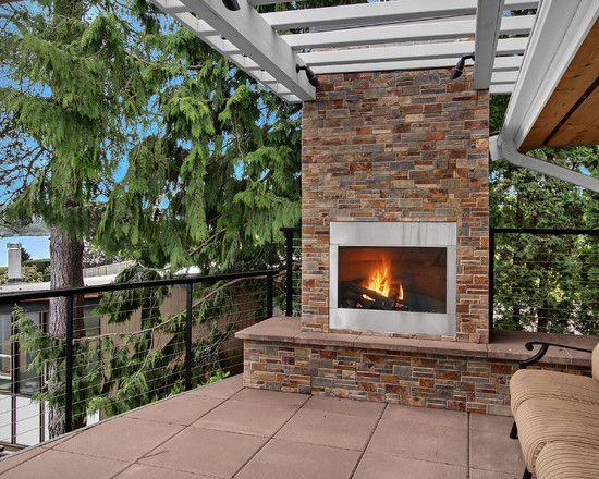 Modern Home Design With Ventless Fireplace Seda Deck Modern Patio