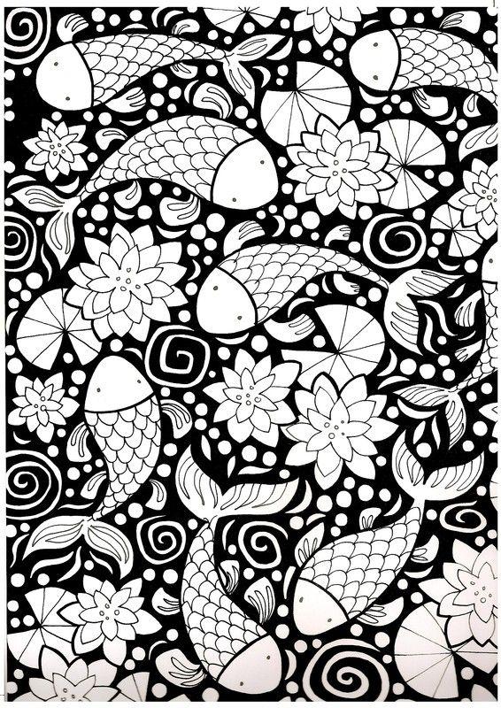 Coloriage Zen Ecole.Coloriage Zen Poissons Chinois Et Nenuphars Ecole Pinterest