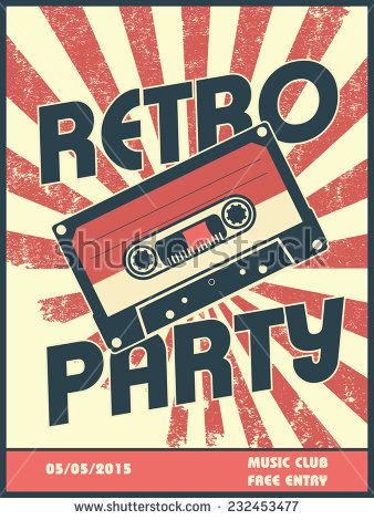Retro Party Music Poster Design With Vintage Style And Equipment Can Be Used As Flyer Leaflet Cover Advertisem Music Poster Design Retro Poster Retro Party
