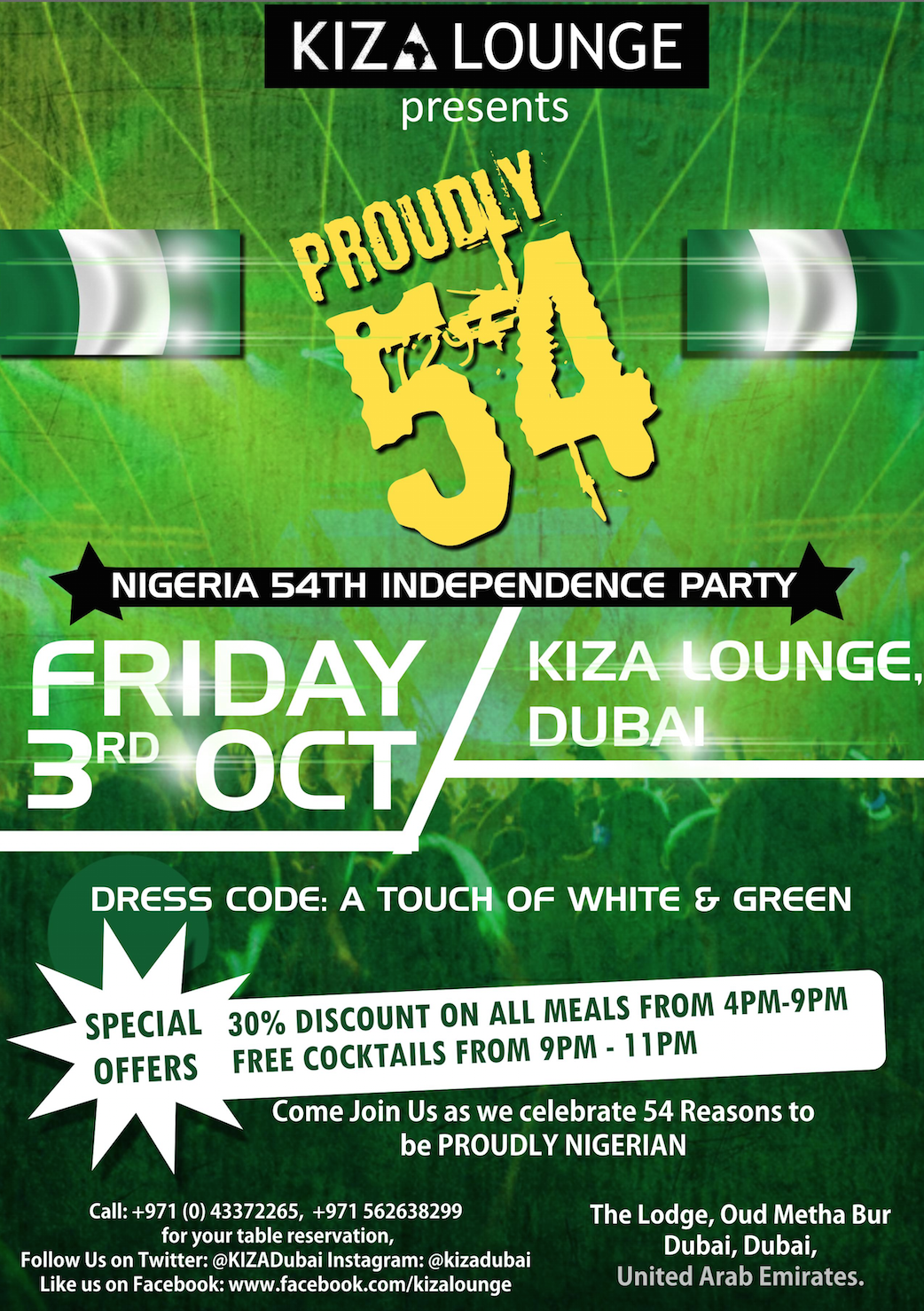Rest well tonight, THE BEAT FRIDAYS by #Hennessey is on tomorrow, celebrating Nigeria's Independence Day with a Massive party, 30% OFF ON ALL MEALS FROM 4pm – 9pm & later FREE COCKTAILS FROM 9PM – 11PM, and the best mix of music by @vjtribe @djkulcha  #doroparty #turnup #Nigeria54 #kizaloungeandrestaurant #kizadubai #kiza #thebeatfridays #dorodiva #rockstar #dubai #dxbsociety #partyhard #myafrica